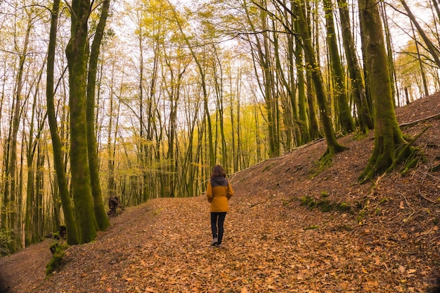 Lifestyle, a young woman in a yellow jacket walking backwards along a forest path in autumn. artikutza forest in san sebastin, gipuzkoa, basque country. spain