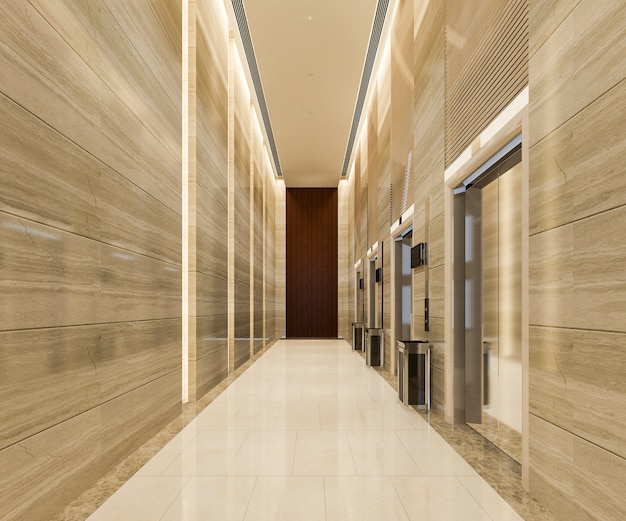 Lift lobby in hotel with luxury design near corridor