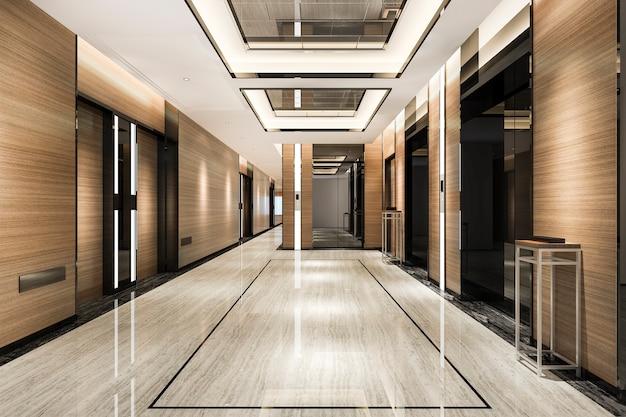 복도 근처의 고급스러운 디자인의 비즈니스 호텔의 리프트 로비