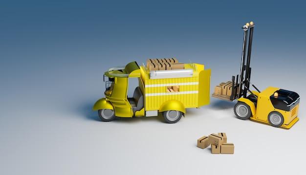 소포 상자를 소형 트럭 및 배달, 3d 그림 렌더링으로 가져가기 위해 작업하는 리프팅 로봇