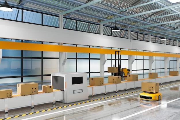 Подъемный робот, работающий с роботом-переносчиком и рабочая линия с рентгеновским ящиком на складе или складе, концепция логистической технологии, рендеринг 3d-иллюстрации