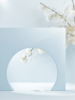 Light abstract podium for product presentation with nature flowers backgroung