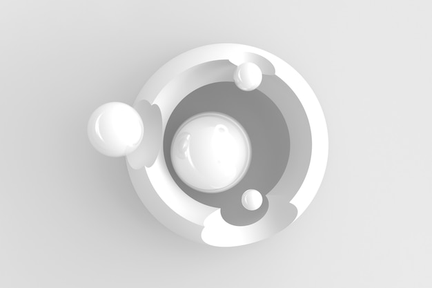 Light abstract three-dimensional background of many circles with round cutouts with a stylized display of the planet and satellites