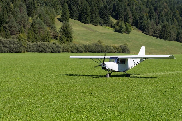 Посадка легкого самолета на зеленый луг