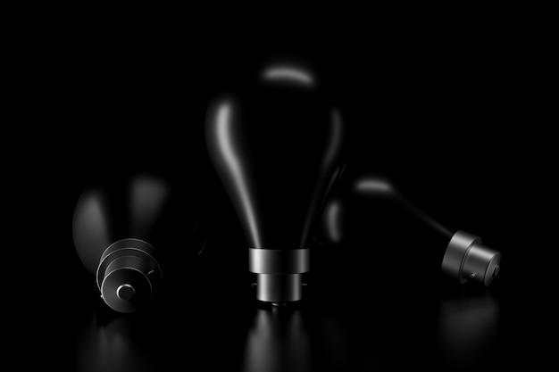 暗闇の中で電球の光と影