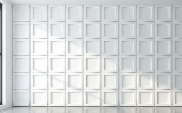 3d 벽 패널이 있는 창틀의 빛과 그림자. 3d 렌더링
