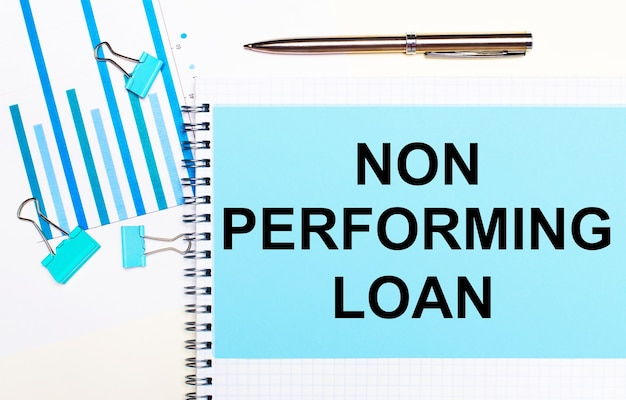 On a light background - light blue diagrams, paper clips and a sheet of paper with the text non performing loan