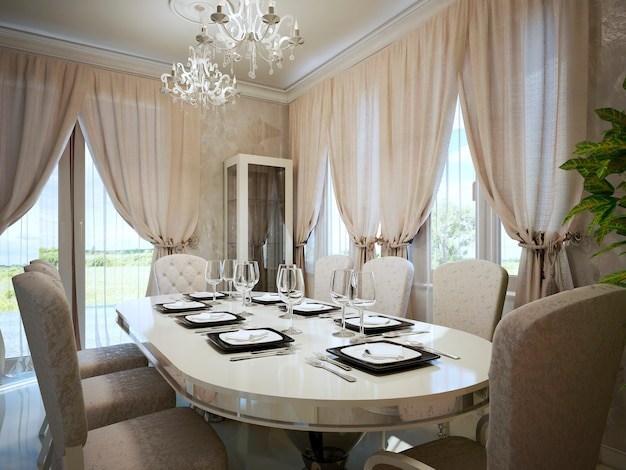 Light beige colors in modern interior of dining