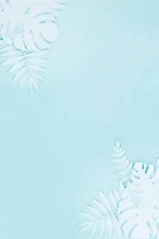 Light blue artificial foliage from paper style with copy space