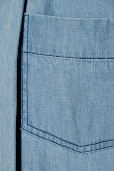 Light blue denim pocket close up