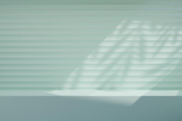 Light blue desk wall background with sunlight leaf plant. 3d illustration rendering.