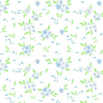 水色の花と葉のパターン画像