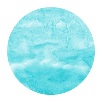 Light blue hand drawn watercolor circular frame background texture with stains