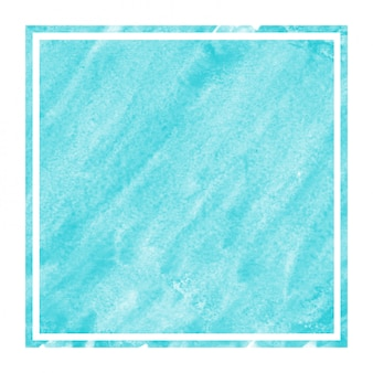 Light blue hand drawn watercolor rectangular frame background texture with stains