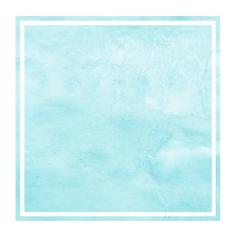Light blue hand drawn watercolor square frame background texture with stains