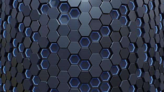ライトブルーの六角形の抽象的な背景。