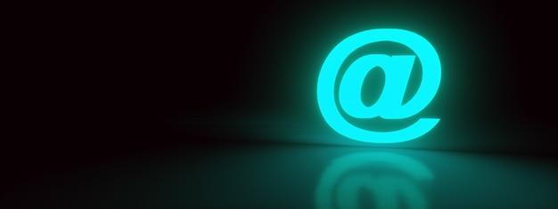 라이트 블루 메일 3d 렌더링 디자인 요소 이메일 서명