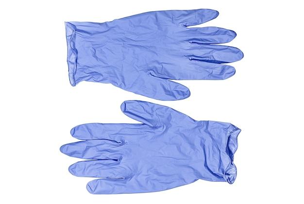 Голубые медицинские перчатки, изолированные на белом фоне здравоохранение и медицина