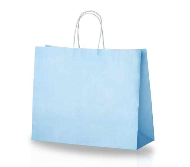 흰색 배경에 고립 된 밝은 파란색 종이 쇼핑백