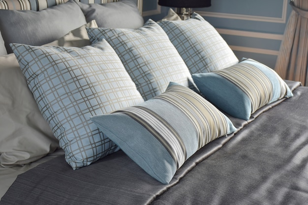 Light blue pillows in difference pattern