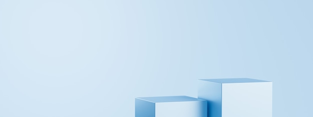 Light blue product background stand or podium pedestal on empty display with blank backdrops.