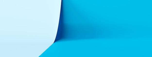밝은 파란색 제품 무대 배경 또는 스튜디오 쇼케이스 배경으로 빈 현대 미술 방에 연단 받침대 디스플레이. 3d 렌더링.