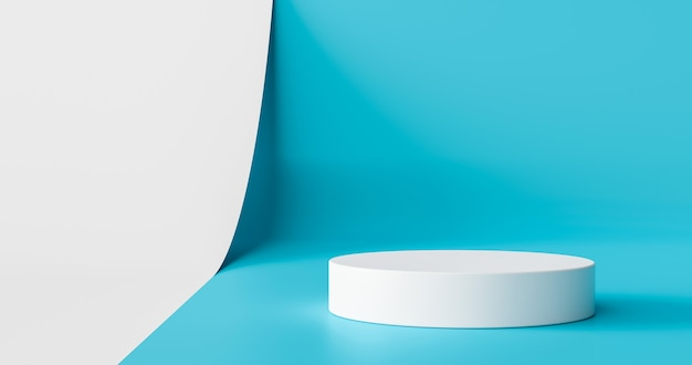 Light blue product stage background or podium pedestal display on blank modern art room with studio showcase backdrop. 3d rendering.