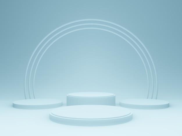 라이트 블루 제품 스탠드. 파스텔 연단. 3d 렌더링.