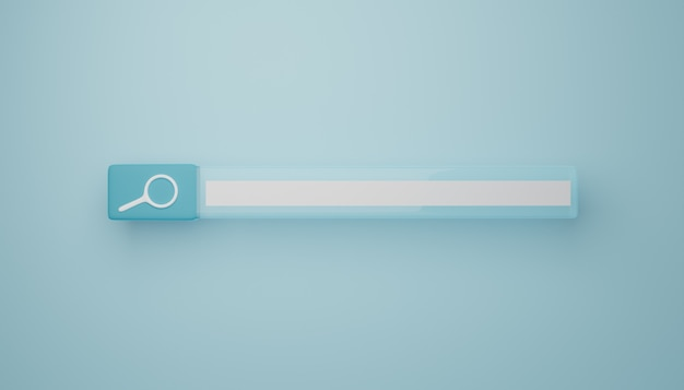 Light blue search bar. 3d rendering