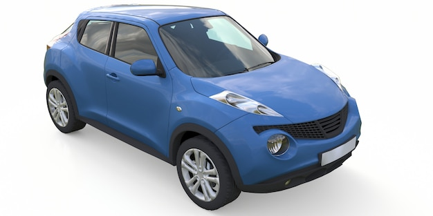Light blue subcompact crossover suv. 3d rendering.