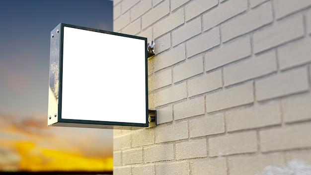 ライトボックス看板。ロゴのレンガの壁の横に金属製のライトボックスモックアップを設置