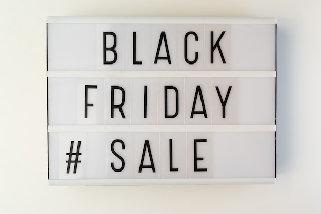 Light box with black friday sale text