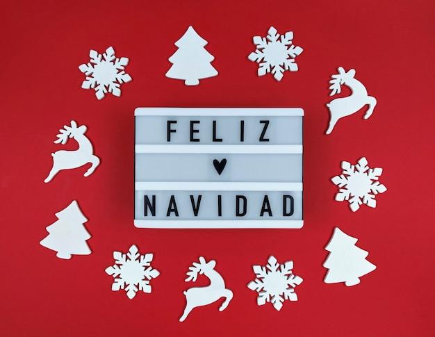 Feliz navidadフレーズのライトボックス、スペイン語のメリークリスマス