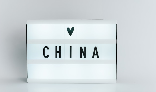 Light box with the headline china with copyspace, over white background