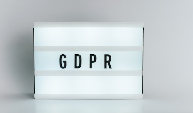 Light box with the headline gdpr with copyspace, over white background