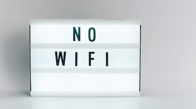Light box with the headline no wifi with copyspace, over white background