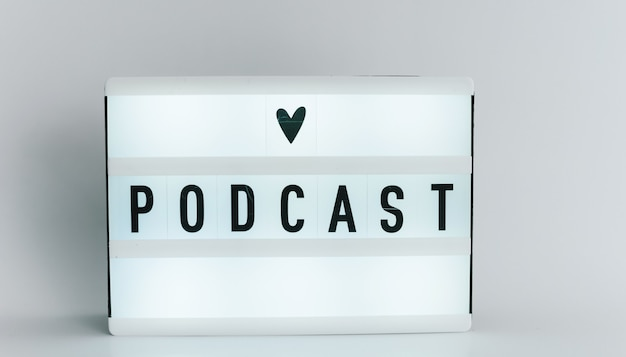 Light box with the headline podcast with copyspace, over white background