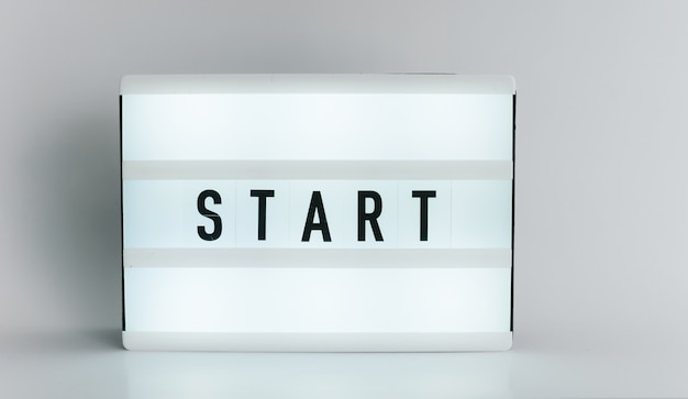 Light box with the headline start with copyspace, over white background