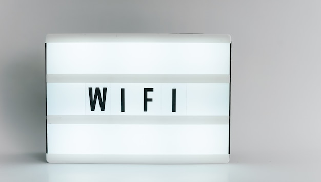 Light box with the headline wifi with copyspace, over white background