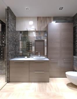 Светло-коричневая мебель в необычной ванной комнате с высоким потолком, галогенными лампами и смешанной плиткой на стенах и отдельной душевой со стеклянной дверью.
