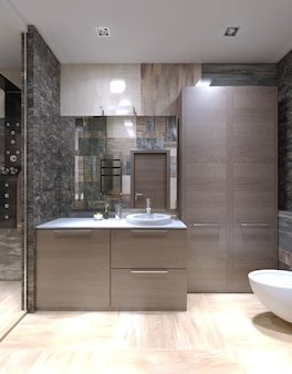 Light brown furniture in strange bathroom with high ceiling with halogen lamps and mixed tile on walls and separated shower with glass door.