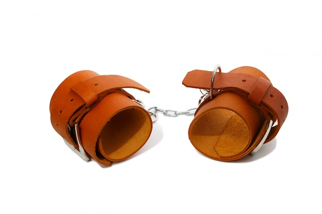 Light brown leather handcuffs