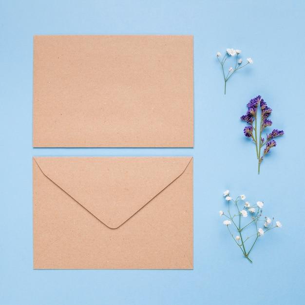 Light brown wedding invitation on blue background