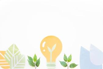 Light bulb and plants