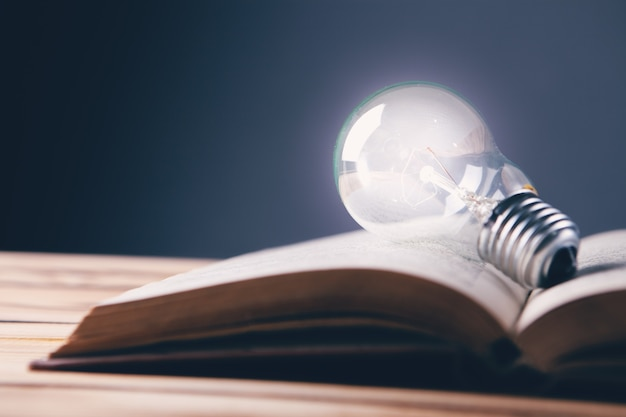 Light bulb and book. concept idea from a book