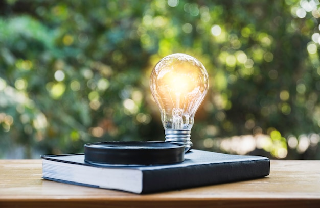 Light bulb and a book on table