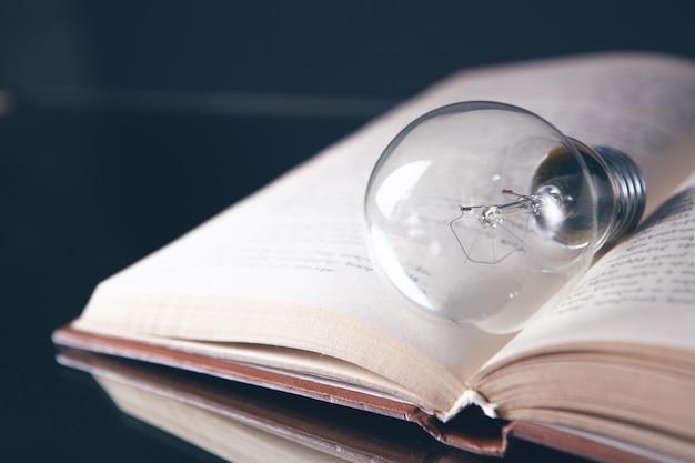 Light bulb on the book