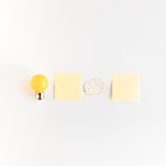 Light bulb and brain with two adhesive notes on white background