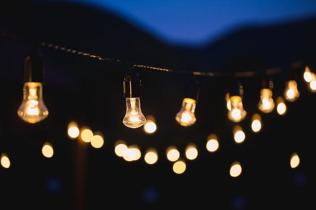 野外パーティーの電球の装飾