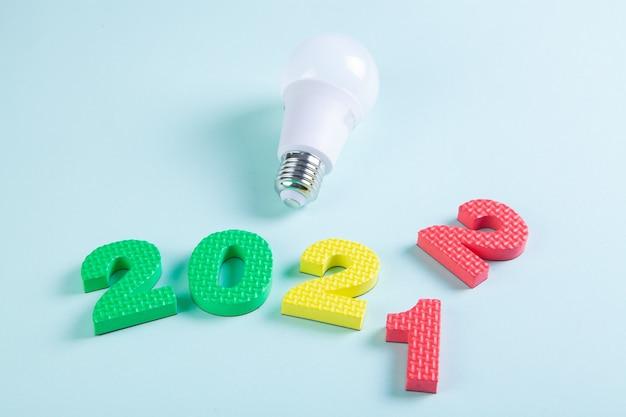 Light bulb digits 2021-2022 year transition